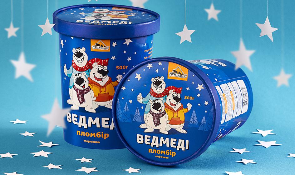 """упаковка мороженного """"Три медведя"""""""