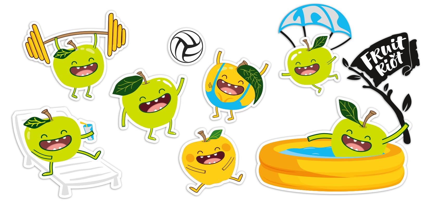 бренд герои для Fruit Riot