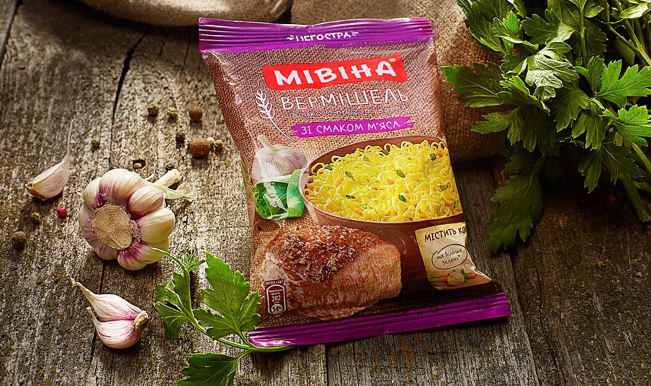 упаковка лапши Мивина с мясом