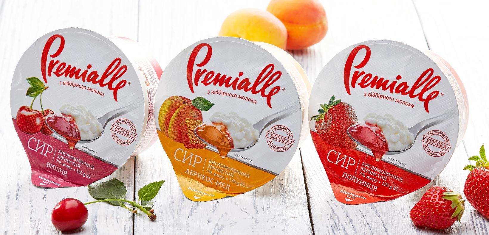 упаковка зернистого сыра с дежмом Premialle