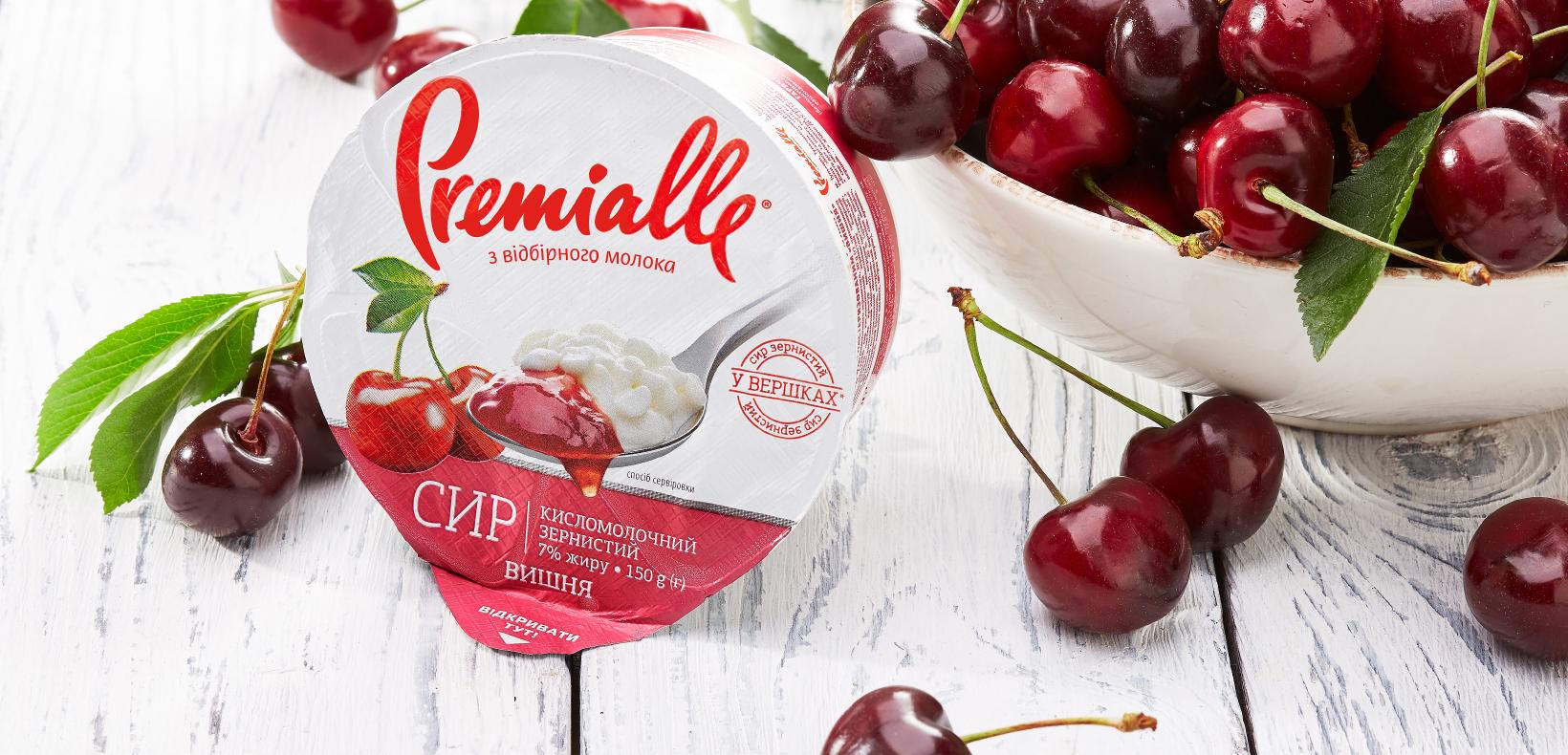 Premialle зернистый сыр с джемом вишневый
