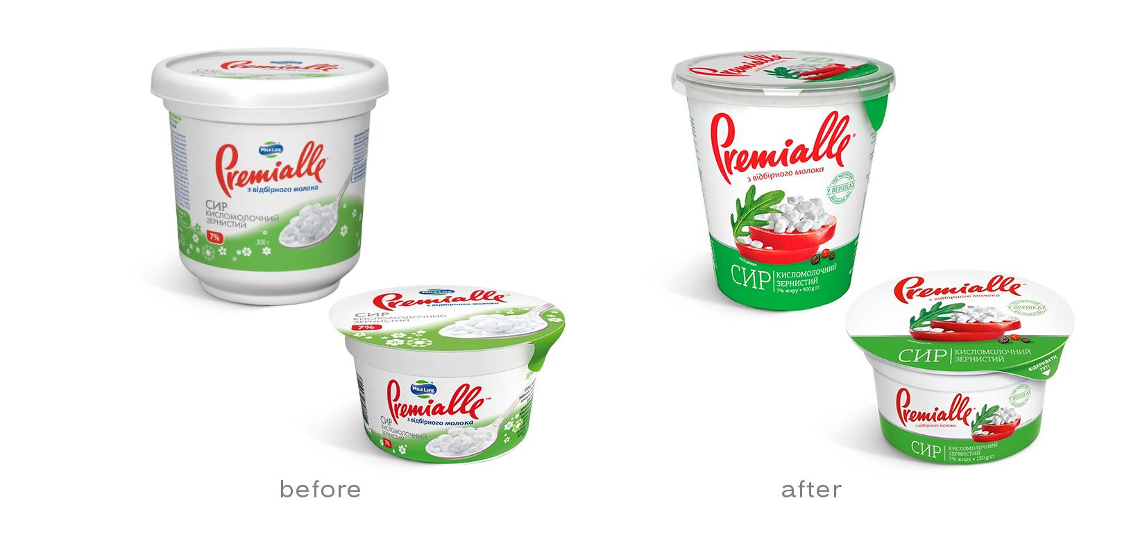 упаковка до и после Premialle