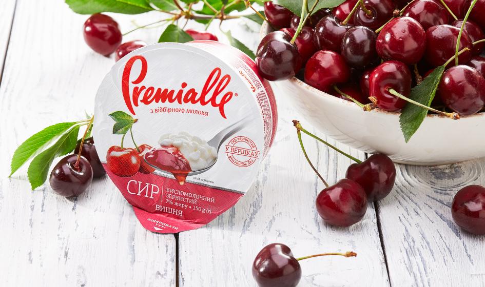 упаковка зернистого сыра вишня Premialle