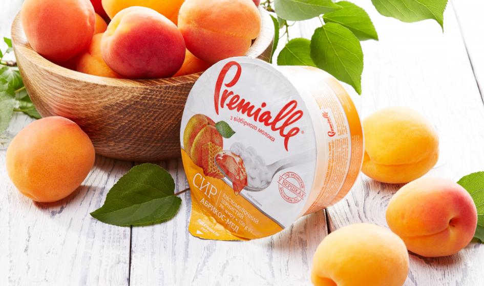 упаковка зернистого сыра абрикос-мед Premialle