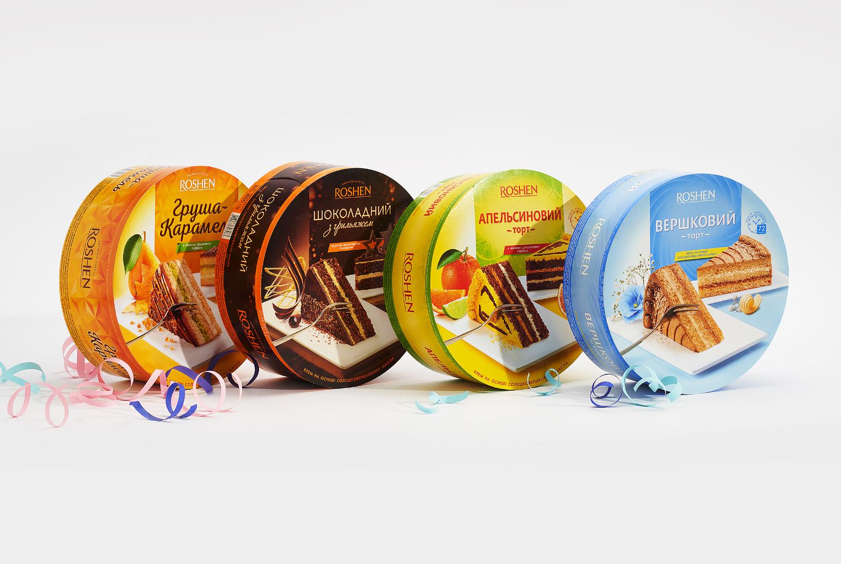 дизайн упаковки тортов Roshen round cake
